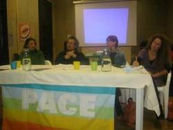 Diamo una possibilità alla Pace! Da Sinistra: Angelica Romano, Stephanie Westbrook, Francesco Martone, Federica Fratini